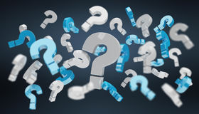 3D rendering question marks. On dark background Royalty Free Stock Image