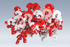 3D rendering question marks. On grey background Royalty Free Stock Images