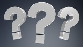 3D rendering question marks. On grey background Stock Photos
