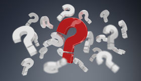 3D rendering question marks. On grey background Stock Photography