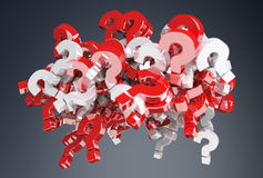 3D rendering question marks. On grey background Royalty Free Stock Photography