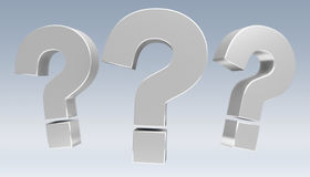 3D rendering question marks. On grey background Stock Image
