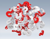 3D rendering question marks. On grey background Royalty Free Stock Photo