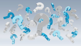 3D rendering question marks. On grey background Stock Photo