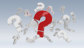 3D rendering question marks. On grey background Royalty Free Stock Image