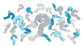 3D rendering question marks. On white background Stock Image