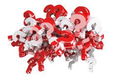 3D rendering question marks. On white background Stock Images
