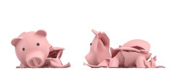 3d rendering różowy ceramiczny prosiątko bank całkowicie łamający up w kilka wielkich kawałki Obrazy Stock