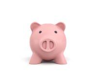 3d rendering różowy ceramiczny prosiątko bank odizolowywający na białym tle Zdjęcia Stock