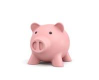 3d rendering różowy ceramiczny prosiątko bank odizolowywający na białym tle Obraz Stock