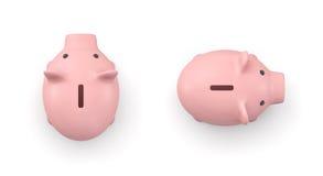 3d rendering różowy ceramiczny prosiątko bank w odgórnym widoku odizolowywającym na białym tle Fotografia Stock