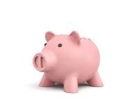 3d rendering różowy ceramiczny prosiątko bank z łamanym wierzchołkiem na białym tle Zdjęcia Stock