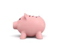 3d rendering różowy ceramiczny prosiątko bank z łamanym wierzchołkiem na białym tle Zdjęcia Royalty Free