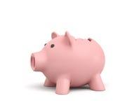 3d rendering różowy ceramiczny prosiątko bank z łamanym wierzchołkiem na białym tle Obrazy Royalty Free