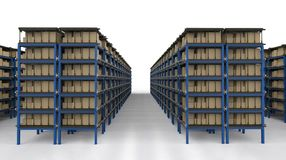 Racks full of carton boxes Stock Images