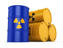 3D rendering radioactive barrels Royalty Free Stock Images