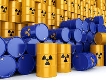 3D rendering radioactive barrels Royalty Free Stock Photo