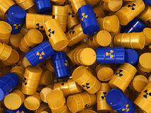 3D rendering radioactive barrels. 3D rendering yellow and blue barrels with radioactive materials Stock Photos