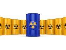 3D rendering radioactive barrels Stock Photos