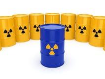 3D rendering radioactive barrels. 3D rendering yellow and blue barrels with radioactive materials Stock Images