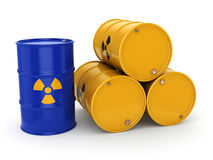 3D rendering radioactive barrels. 3D rendering yellow and blue barrels with radioactive materials Royalty Free Stock Photos