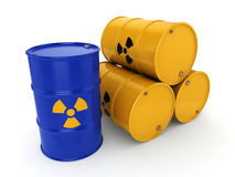 3D rendering radioactive barrels Royalty Free Stock Photography