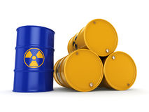 3D rendering radioactive barrels. 3D rendering yellow and blue barrels with radioactive materials Stock Photography
