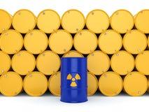 3D rendering radioactive barrels. 3D rendering yellow and blue barrels with radioactive materials Stock Image