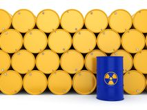 3D rendering radioactive barrels Royalty Free Stock Image