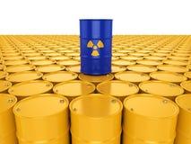 3D rendering radioactive barrels. 3D rendering yellow and blue barrels with radioactive materials Stock Photo