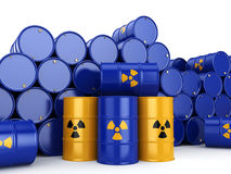 3D rendering radioactive barrels Royalty Free Stock Photos