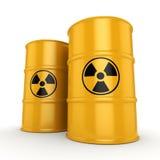 3D rendering radioactive barrels Stock Photo
