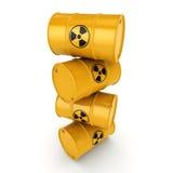 3D rendering radioactive barrels Royalty Free Stock Photos