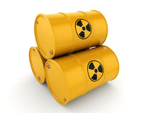 3D rendering radioactive barrels Stock Image