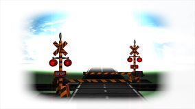 3d rendering, Railroad crossing animation. stock video footage
