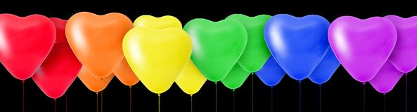 Rainbow of colorful balloons in the shape of hearts. 3D Rendering Rainbow of colorful balloons in the shape of hearts Royalty Free Stock Photography