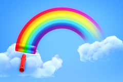 3d rendering of rainbow painted with paint roller in blue sky with both ends in white clouds. vector illustration