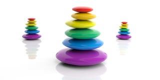 3d rendering rainbow zen stones stack Royalty Free Stock Images