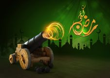 3D rendering of a ramadan copper cannon. Celebration, arabic, islamic Stock Images