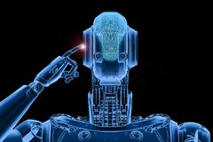 X-ray robot thinking. 3d rendering x-ray humanoid robot thinking or computing Stock Images