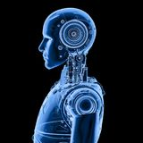 Robot x ray. 3d rendering x-ray robot on black background stock illustration