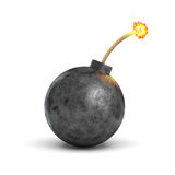 3d rendering of a realistic black iron round bomb with a lit burning fuse on white background. Royalty Free Stock Photo
