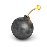 3d rendering of a realistic black iron round bomb with a lit burning fuse on white background. Destruction and danger. Arms and weapons. Explosions Stock Photos