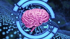3D rendering Realistic Brain made of particles Rotating with Light Pink tinted on Blue Abstract HUD and Particles field Background