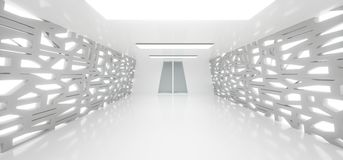 Realistic Empty White Corridor With Grid Mesh Walls And Lights. 3D Rendering Of Realistic Empty White Corridor With Grid Mesh Walls And Lights Stock Image