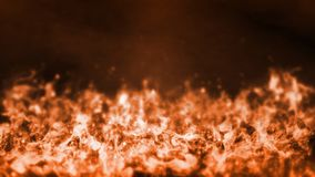 3D Rendering of realistic fire flaming bottom up background with flare and glowing dust royalty free stock photos