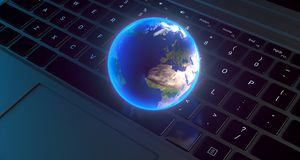 Realistic Planet Earth Globe Over Computer Keyboard. 3D Rendering Of Realistic Planet Earth Globe Over Computer Keyboard The Elements Of This Image Furnished By Stock Photography