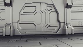 3D rendering of realistic sci-fi spaceship closed door hangar. 3D illustration of realistic sci-fi spaceship closed door hangar stock illustration