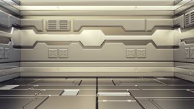 3D rendering of realistic sci-fi spaceship corridor. 3D illustration of realistic sci-fi spaceship corridor stock illustration