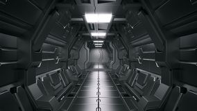 3D rendering of realistic sci-fi spaceship corridor Science background stock illustration